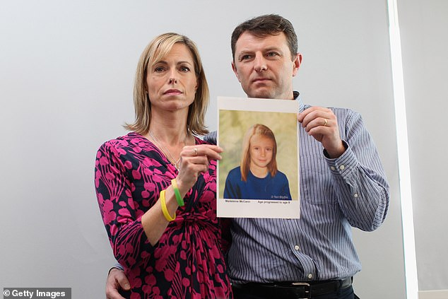 Kate and Gerry McCann sport a police image of their time-changing daughter at a press conference to mark the 5th anniversary of the disappearance of Madeleine McCann, May 2, 2012