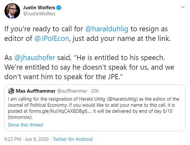 A letter removing him from the position of managing editor of the Journal of Political Economy was endorsed by scholars such as Professor Justin Wolfers of the University of Michigan