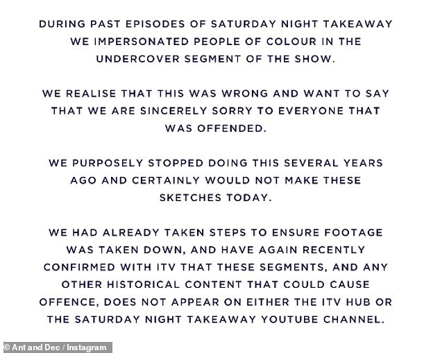 They went to the microblogging site on Wednesday evening, posting: `` During the last episodes of Saturday Night Takeaway, we have stolen the identity of people of color in the secret segment of the series ''
