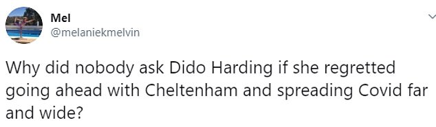 Social media users were quick to point out that Mr Hancock did the briefing alongside Ms Harding who sits on the board of Cheltenham-organisers the Jockey Club who allowed the massive event to go ahead