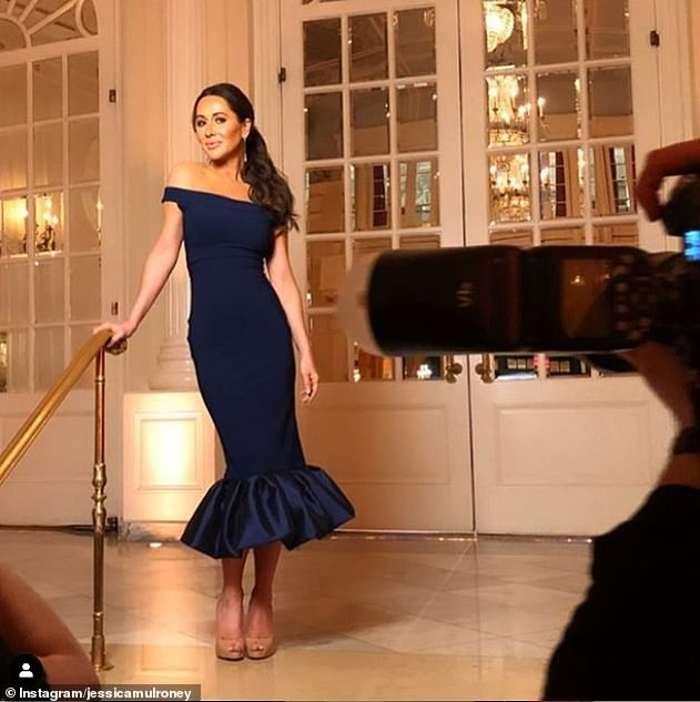 Jessica shared a behind-the-scene photo of herself wearing a stylish off-the-shoulder navy dress at the wrap party for I Do, Redo
