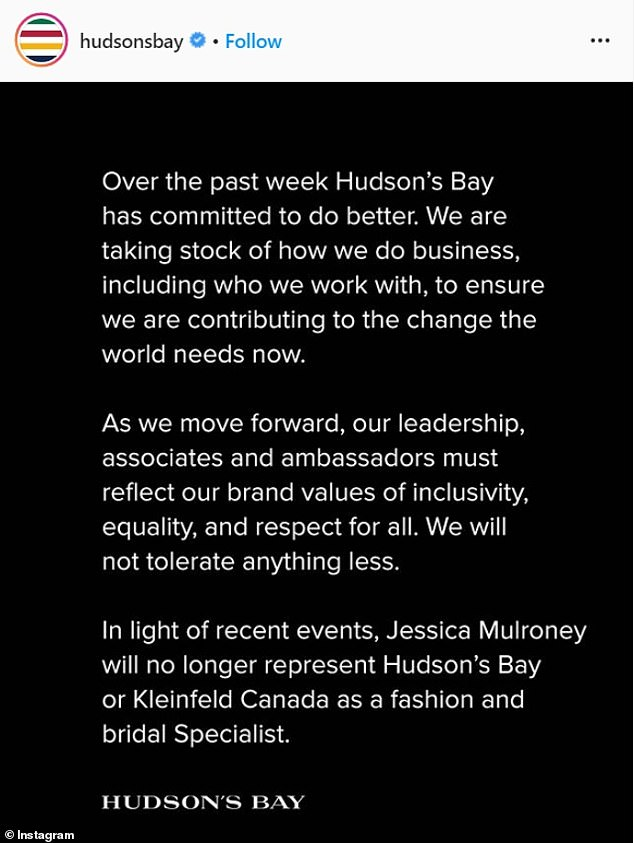 Hudson's Bay also cut ties with Mulroney amid racist argument with Exeter