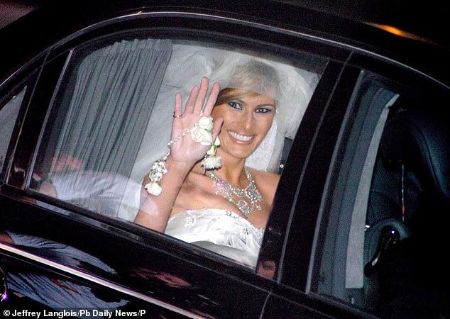 Melania Trump in her wedding dress on her wedding day - January 22, 2005