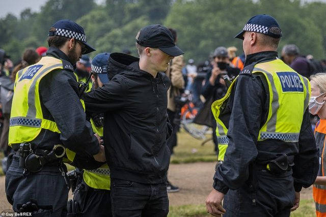 Around 20 officers moved through large crowds of peaceful protesters sitting on the grass to seize a demonstrator today and escort him to nearby police vans