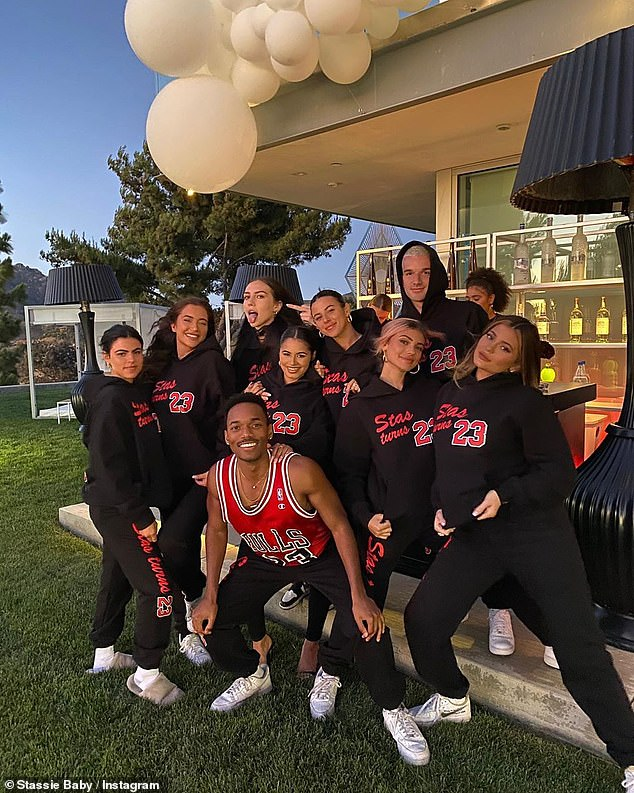 Living on the edge: Kylie's photos dated to Stassie's birthday party on Monday, when none of the revelers wore masks or practiced social distancing