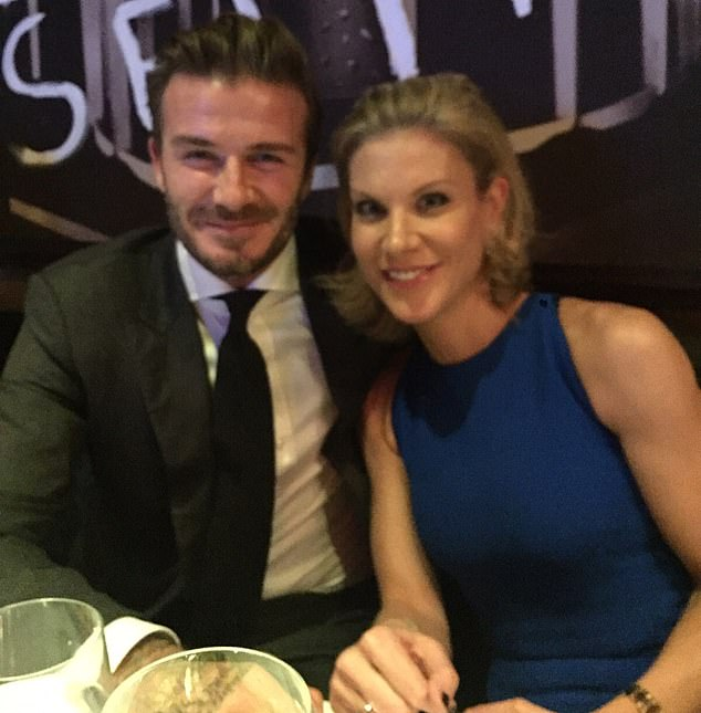 Friends in high place: Amanda Staveley is photographed with David Beckham at an event in plush