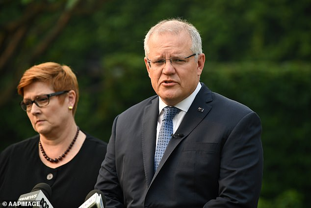 The news comes at a time when diplomatic ties between Australia and China are at an almost all time low, after Prime Minister Scott Morrison (pictured with foreign minister Marise Payne) called for an inquiry into the origins of the COVID-19 pandemic
