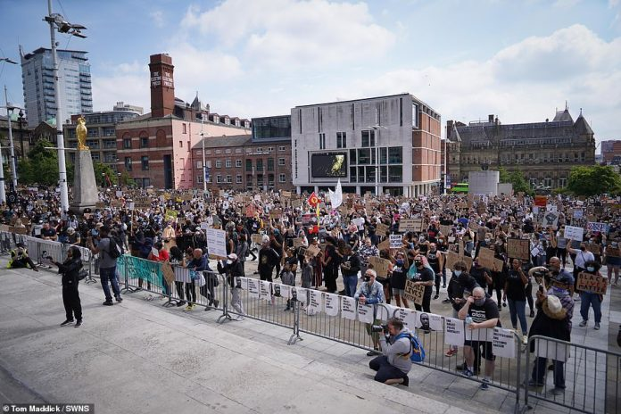Black Lives Matter protest taking place in Leeds Millennium Square this afternoon, the latest in a series of protests across the UK