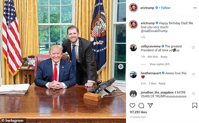 Eric Trump posted to tell his dad 'we love you very much'
