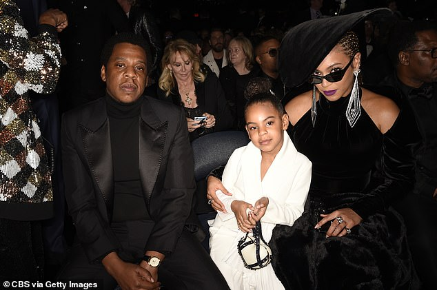 Music runs in the family: Blue is the daughter of power couple Beyonce and Jay-Z (pictured at the 60th Grammy Awards)