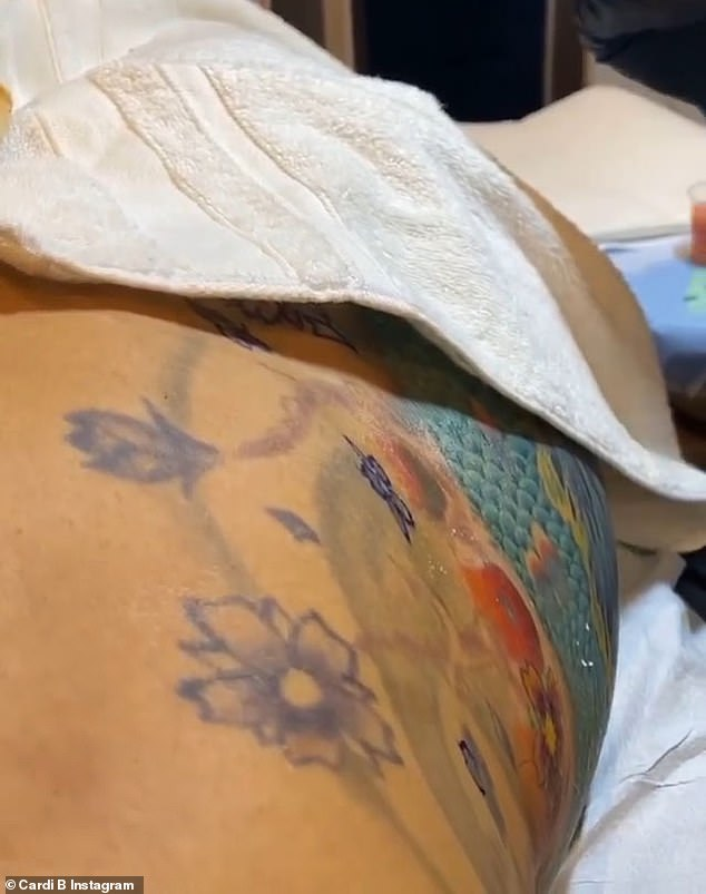 'This whole week I been takin hours of pain getting tatted,' the 27-year-old I Like It hitmaker captioned the image of her makeover