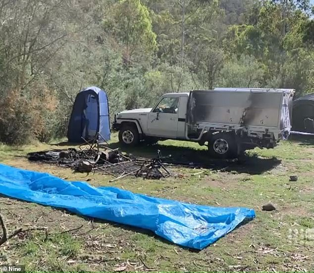 Mr Hill's white Toyota Landcruiser was found with minor fire damage at their burnt campsite near Dry River Creek Track in the valley on March 21