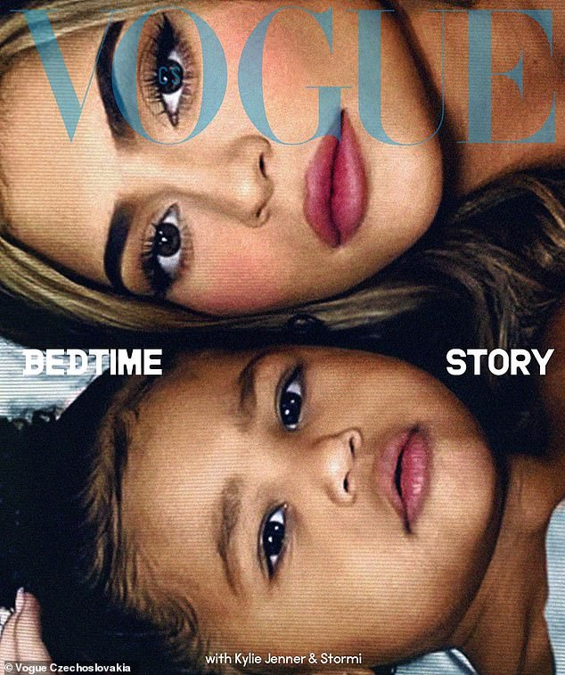 Cover stars: Kylie and Stormi adorn the cover of Vogue Czechoslovakia - they were photographed via a Zoom call by the Morelli brothers