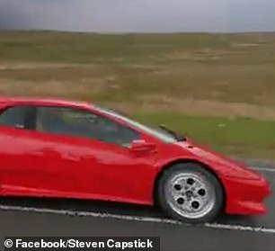 Speeding: Paddy was seen driving the supercar quickly on the empty road