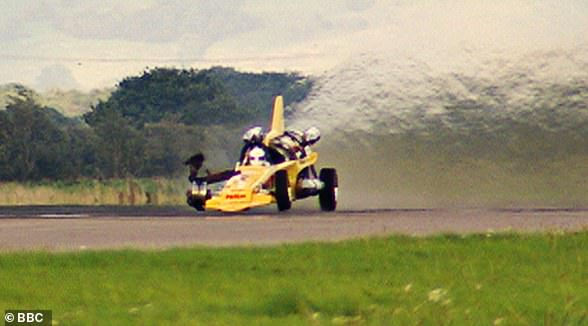 Shocking: Richard found himself fighting for his life after crashing the Vampire Dragster as he was going at 288 mph while testing the vehicle at the former RAF Elvington air base