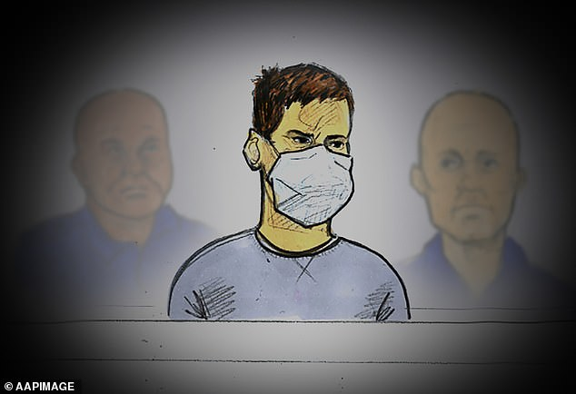 The mortgage broker (pictured in a court sketch) avoided being struck because he'd been urinating off to the side of the road