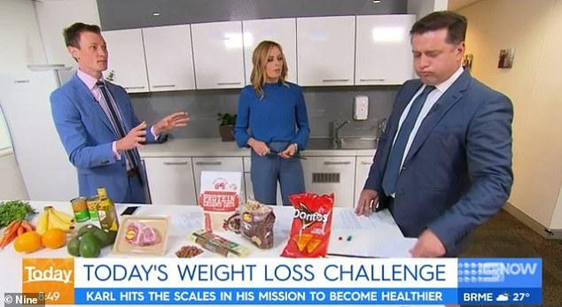Tips and tricks: Speaking to Daily Mail Australia last week, Dr. Nick Fuller (left)revealed the surprisingly easy diet he gave Karl to shed the pounds