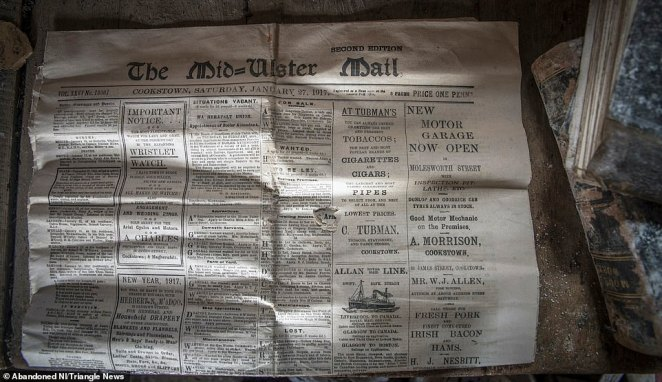 A copy of the Mid Ulster Mail from 1911 was also found in the derelict County Tyrone farmhouse