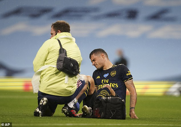 The Gunners have lost Granit Xhaka (pictured) and Pablo Husband because of an injury in the first 20 minutes