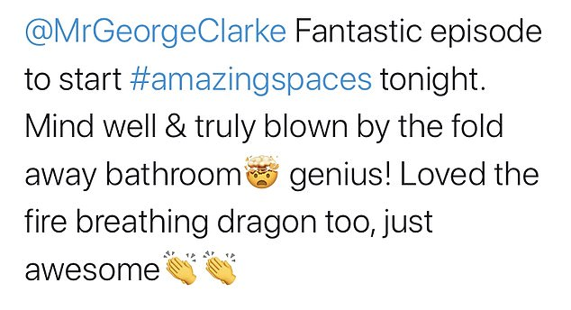 Speaking to Twitter, an impressed spectator wrote: `` I really enjoyed the #amazingspaces tonight, this kitchen / bathroom arrangement was breathtaking. Very, very intelligent!