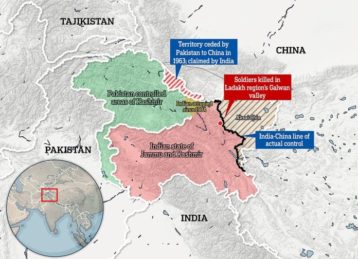 At least 20 Indian soldiers, including a colonel, were killed and at least 43 Chinese men were wounded or killed Monday evening along the real control line (LAC), a disputed border in the Himlayas (red territory is controlled by India, and the beige and gray stripes, Aksai Chin, are Chinese but claimed by India, the white line surrounding it is what India thinks its border should be, while the black line has agreed after the Sino-Indian War of 1962 - a heavy defeat for India)