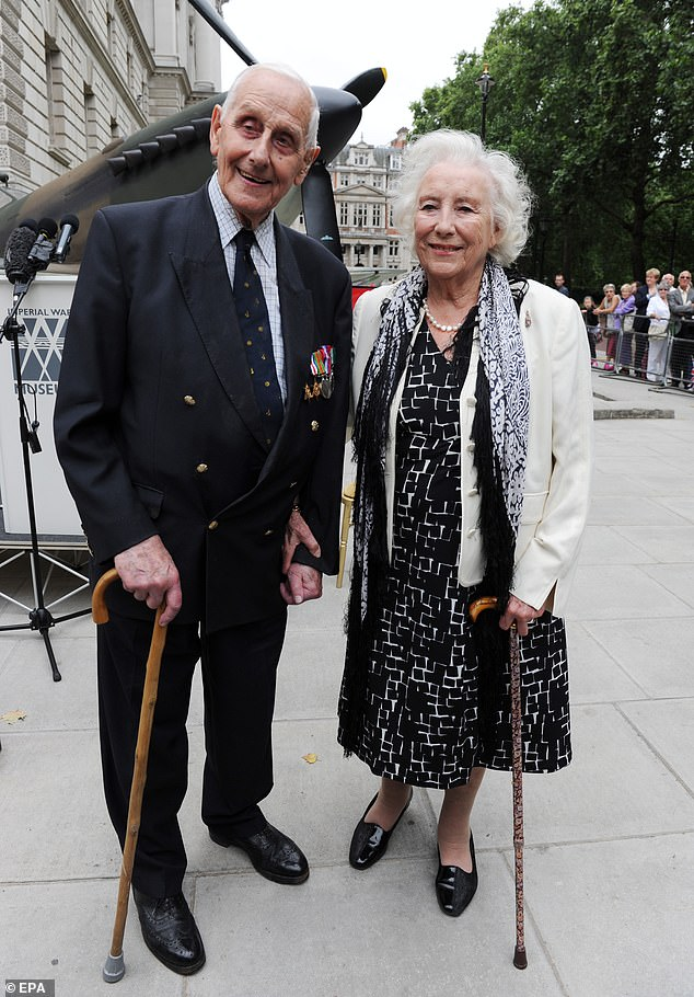 Flight Lieutenant William L B Walker and Dame Vera Lynn outside the Churchill War Rooms, in London on 20 August 2010