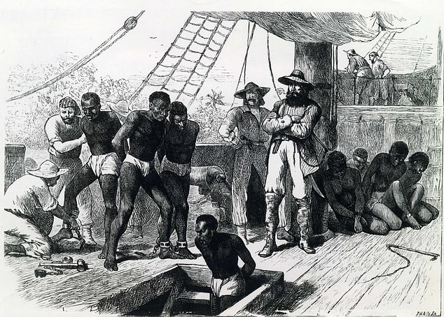 An illustration showing the slaves on board a slave ship out. When the british government abolished slavery in 1833, about 47 000 people have been awarded compensation for the
