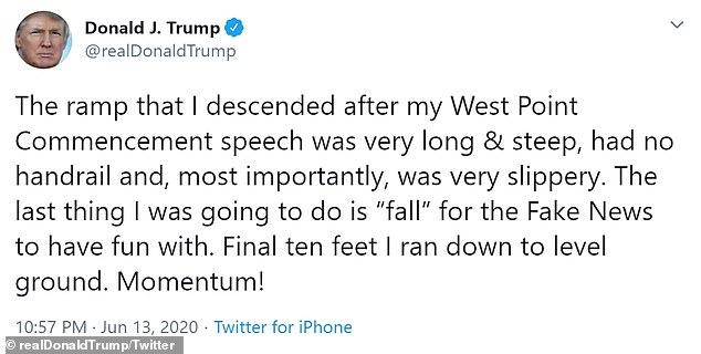 Le président Trump n'a pas mentionné ses chaussures lisses lorsqu'il a discuté pour la première fois de sa marche lente sur une rampe à West Point au cours du week-end