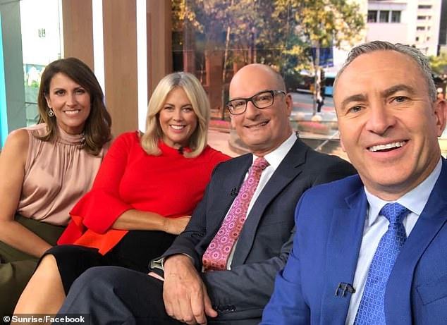 Hosting: Sunrise newsreader Natalie Barr has been filling in for Samantha on Mondays and David on Fridays. Pictured L to R: Natalie, Samantha, David andMark Beretta