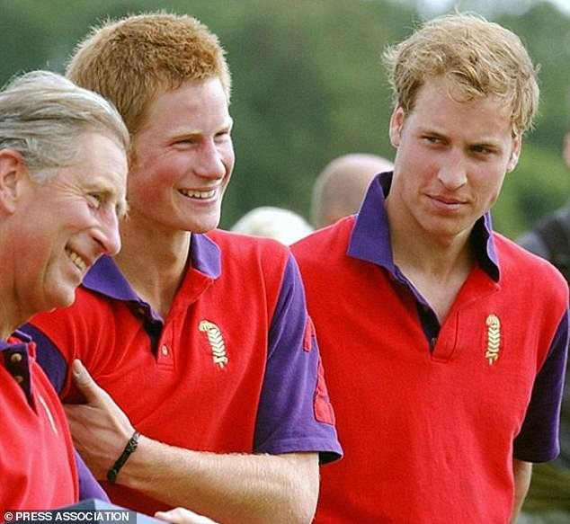 Proud Dad: Earlier in the day, Prince Charles, 72, shared a photo of touch and showing him all smiles with Prince William, 38, and Prince Harry, 35 years ago, in 2004, a polo match at Cirencester Park