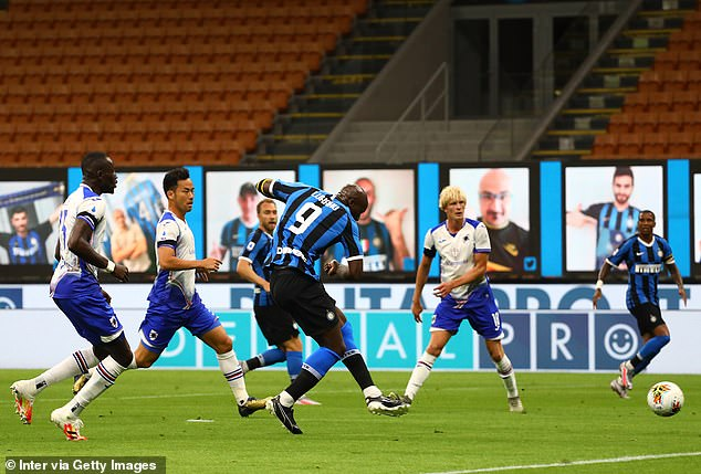 Lukaku took 10 minutes to score again on the Serie A return to the San Siro after three months
