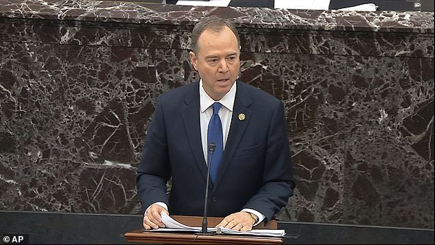 Bolton writes in his new book that the Democratic-led House of Representatives committed malpractice by tailoring impeachment exclusively to Ukraine. The image above shows House Rep. Adam Schiff, a House impeachment manager, speaking during closing arguments in the impeachment trial against Trump at the Senate in Washington, DC, on February 3