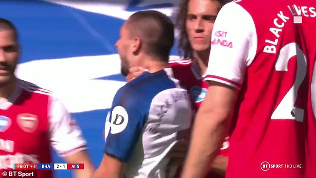 The Arsenal, the midfielder escaped an FA charge of grabbing Maupay by the throat at the end