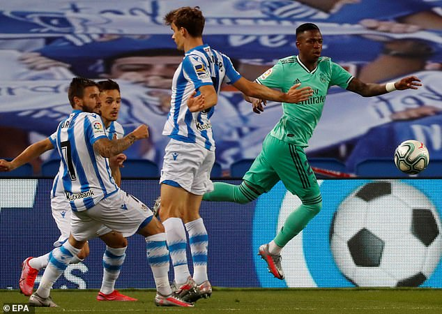 Vinicius Jr (right) won Real Madrid a penalty, which Sergio Ramos tucked home to make it 1-0