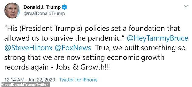 On Sunday, he has moved the attention on the re-opening of the economy, as it has been said by the commentary from Fox News