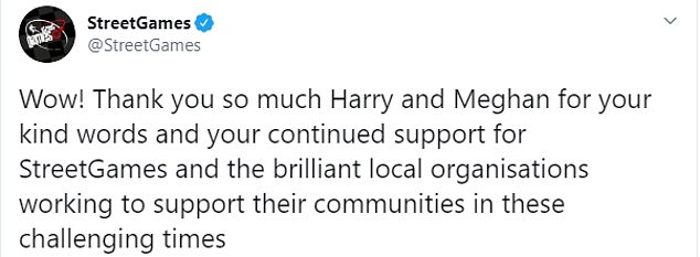 Sharing a picture of the letter on Sunday, the charity wrote: 'Wow! Thank you so much Harry and Meghan for your kind words and your continued support for StreetGames and the brilliant local organisations working to support their communities in these challenging times'