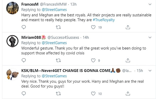 The tweet received a positive response from the majority of excited fans. One wrote: 'Wow thank you so much for sharing. We are overjoyed and love the fact that Prince Harry and Duchess Meghan continue to inspire and show real leadership and humanitarian hearts! Thank you for all you do.'