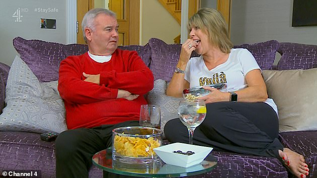 Hilarious: the Celebrity Gogglebox the tv viewers went wild as Ruth Langsford makes a very raunchy remark about sitting on a dryer husband Eamonn Holmes for the show Friday