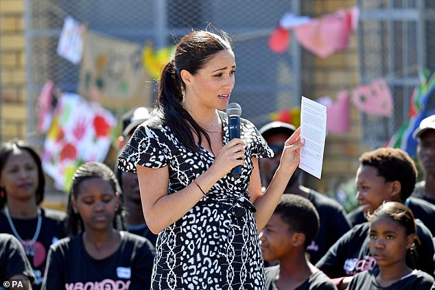 Lady Colin claimed she believes the Sussexes moving to the US is part of the plan to make the shift into the political sphere. Pictured: Meghan delivering a speech to a crowd at the Nyanga Township in Cape Town in September last year
