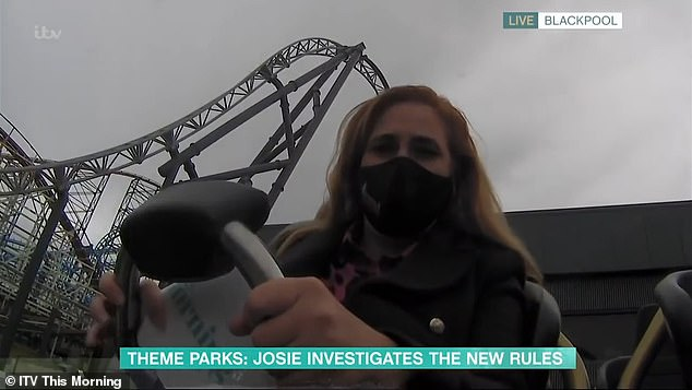 Not impressed: Before the ride started, Josie said to Phillip: 'Believe me, I¿ve got a bone to pick this with you¿ why do you do this to me?'