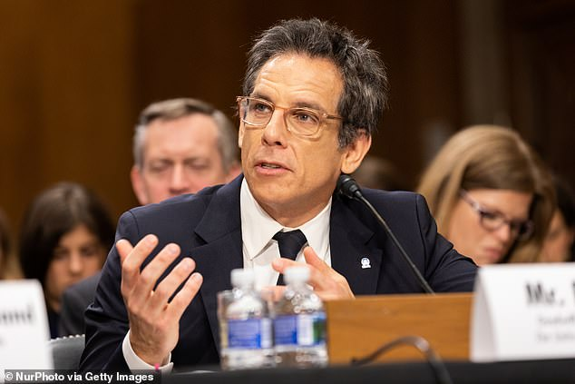 Talk: This wasn't the first time Stiller has talked to you about important matters; he is a goodwill Ambassador for the UNITED nations High commissioner for Refugees; seen here testifying before the Senate Foreign Relations Committee last year in Washington, DC