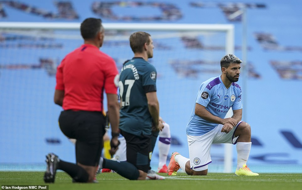 Matej Vydra and Sergio Aguero take a knee as Manchester City and Burnley stars support the Black Lives Matter movement