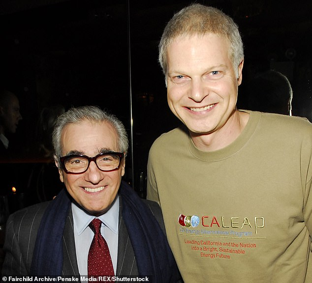 Bing is pictured with Martin Scorcese, who directed the Rolling Stones film Shine a Light, which Bing funded