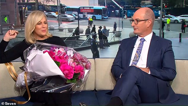 Romantic: When she returned to Sunrise on Tuesday, Sam told her co-host David 'Kochie' Koch (right) that her fiancé had proposed on the spur of the moment 'weeks ago' in the paddock of his rural property in the NSW Southern Highlands