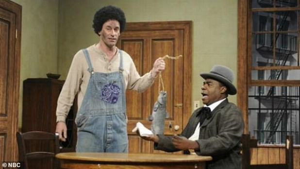 In another episode, regular guest star Jon Hamm blackened his skin in a sketch criticizing the racist television series and radio show Amos 'n' Andy.