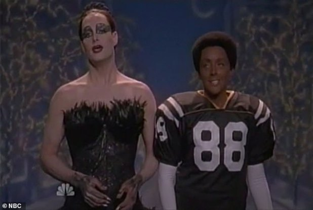 In an episode of 30 Rock, Jane Krakowski wore a black face to dress as former Pittsburgh Steelers star Lynn Swann, while her boyfriend (guest star Will Forte) dressed as Natalie Portman in a parody of her movie Black Swan.