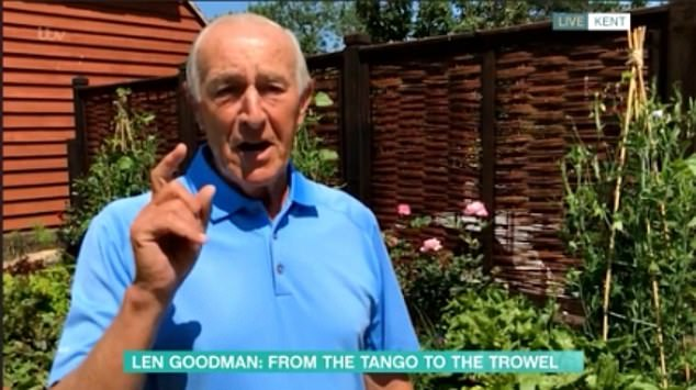Prized veggies: Ex-Strictly Come Dancing judge Len Goodman gave Holly Willoughby and Phillip Schofield a virtual tour of his vegetable patch live on This Morning on Tuesday