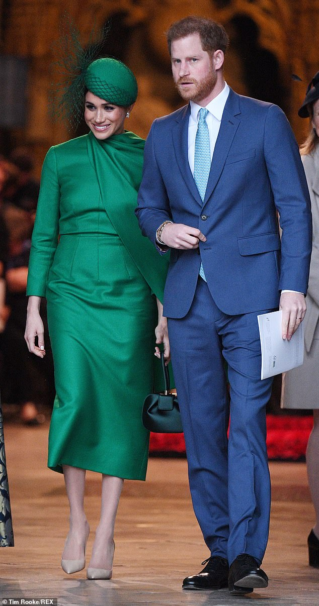 The Duke of Sussex (pictured with Meghan in March 2020), 35, previously raged about ¿racist¿ social media attacks on Meghan, who has a black mother and white father, and said the media published articles with ¿racial undertones¿