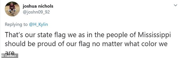 A fan insisted that all Mississippians should embrace the flag 'no matter what color we are'