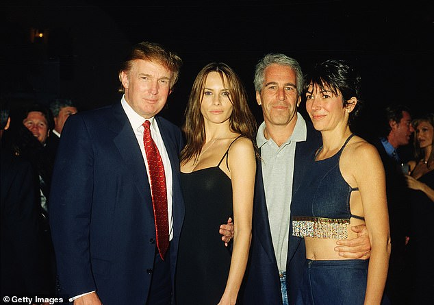 Donald Trump and future wife Melania Knauss, Jeffrey Epstein, and British socialite Ghislaine Maxwell pose together at the Mar-a-Lago club, Palm Beach, Florida, February 12, 2000